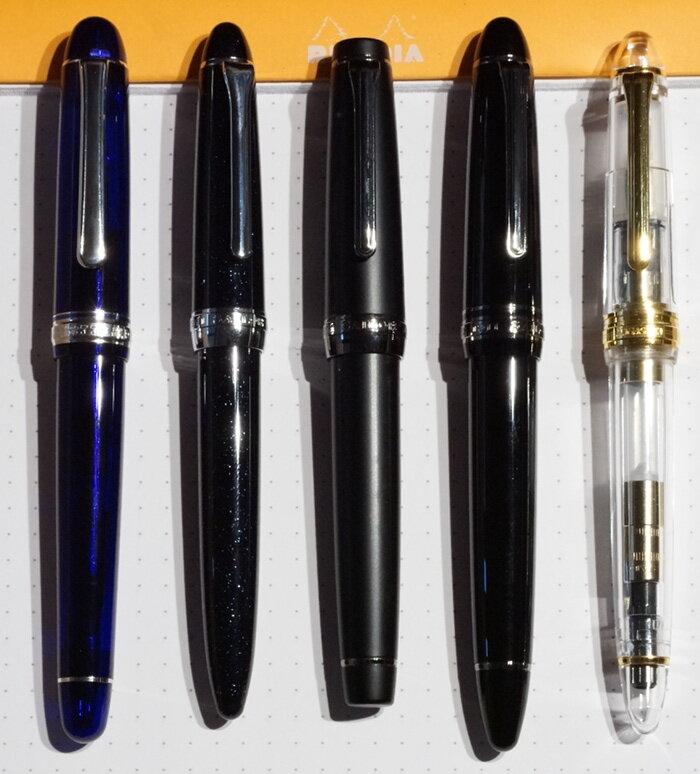Size comparison of Sailor Procolor, ProGear, Profit21 and Proske (capped)