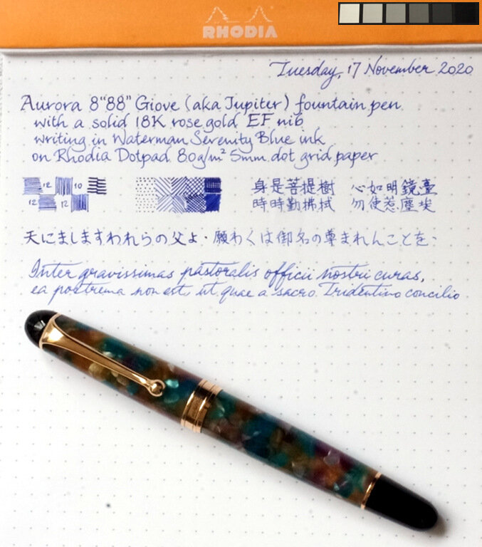 "Aurora 8""88"" Giove 18K rose gold EF nib writing sample.jpg"