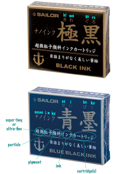Old retail packaging for Sailor Nano ink cartridges
