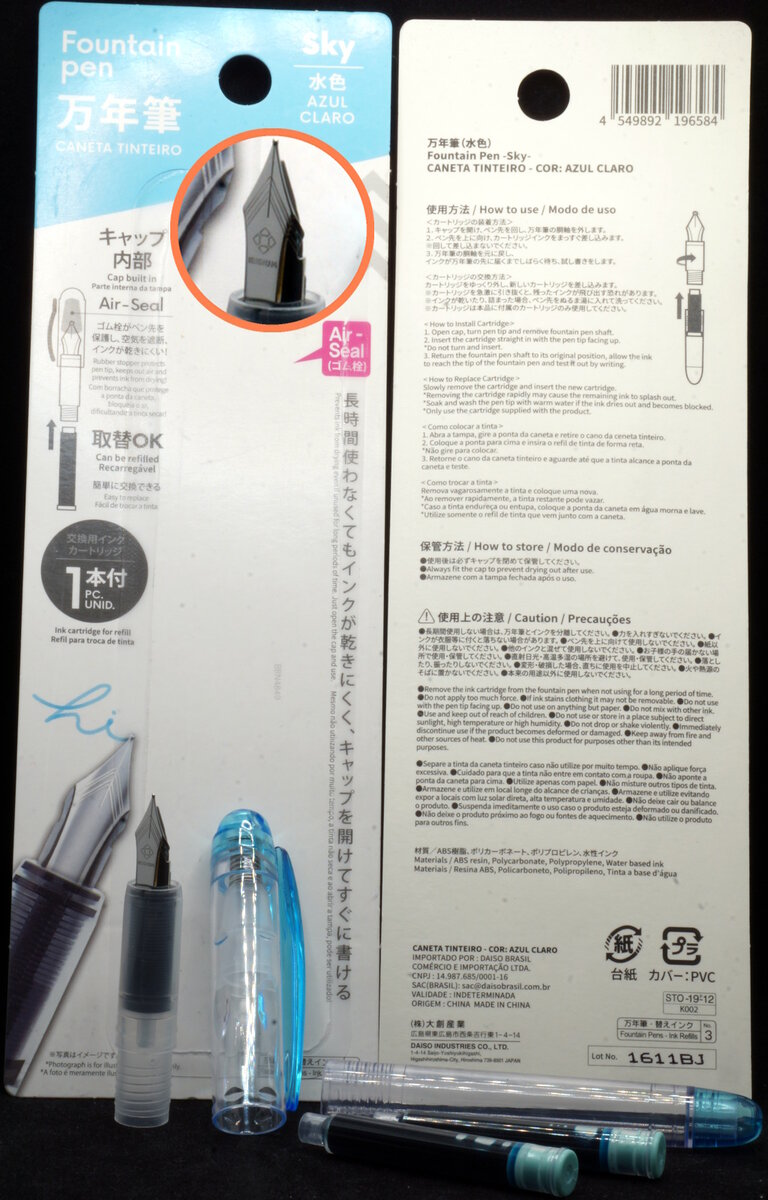 Daiso Preppy-wannabe pen (Sky) unpacked