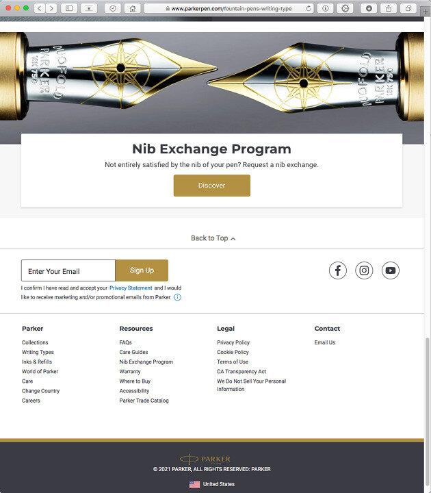 Nib Exchange Program doorway on Parker USA's new-look site