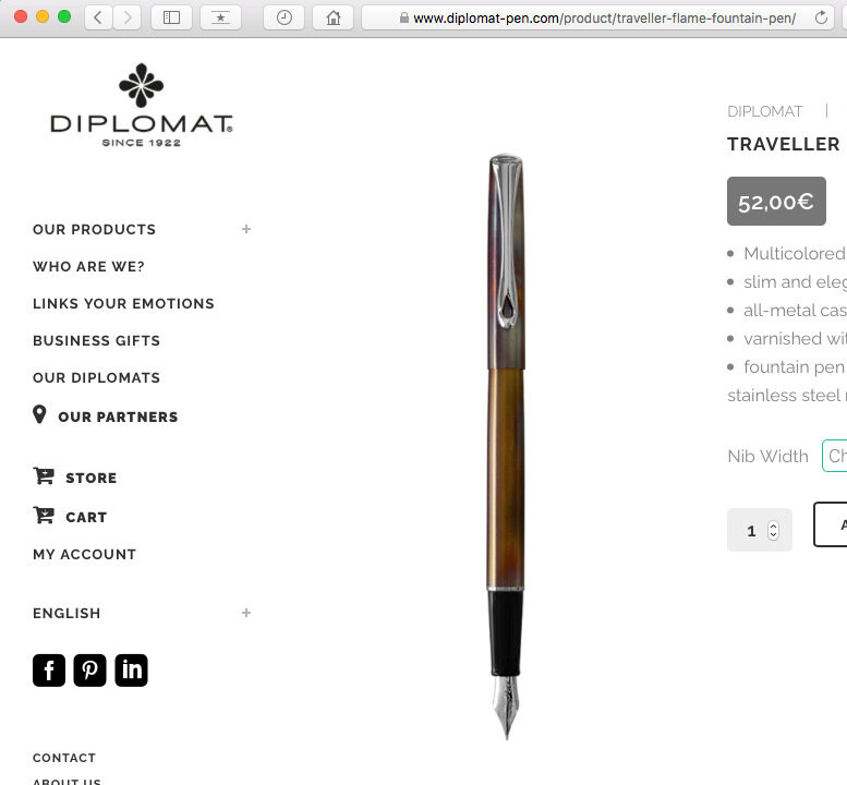 Traveller Flame fountain pen as shown on Diplomat's web site