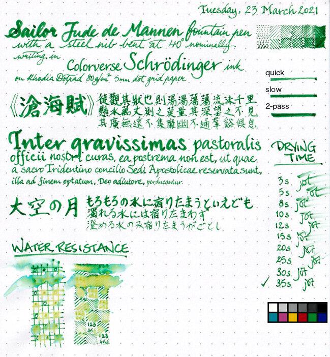 Colorverse Schrödinger ink review sheet