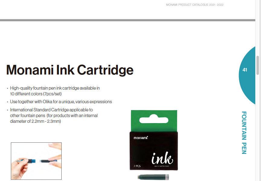 Monami Ink Cartridge description in Monami product catalogue 2021-2022