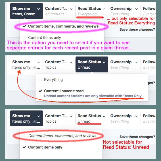 Limitation of Unread content streams