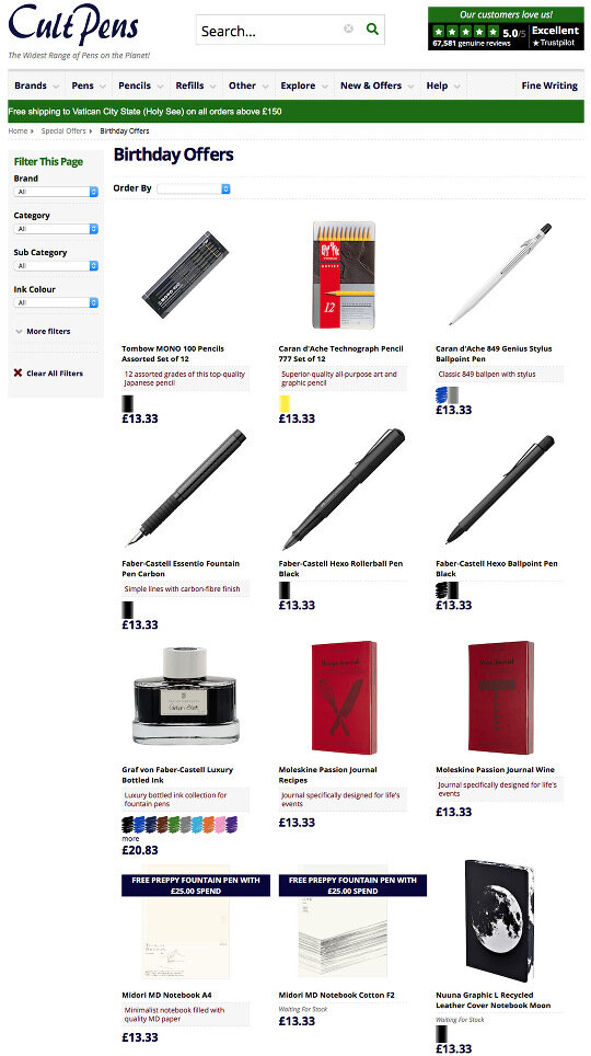 Cult Pens Birthday Offers as of 18 May 2021