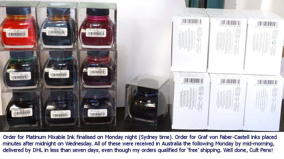 New bottled inks received from Cult Pens on 17May2021