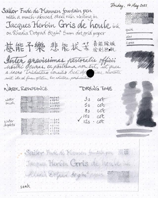 Jacques Herbin Gris de Houle review sheet overview