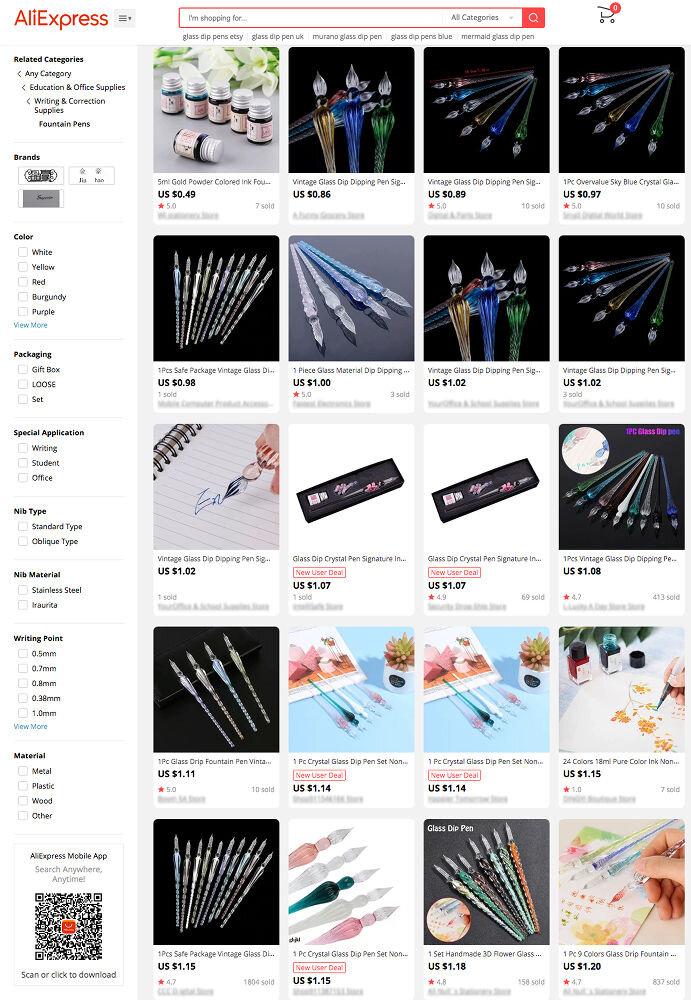 Glass dip pens on AliExpress