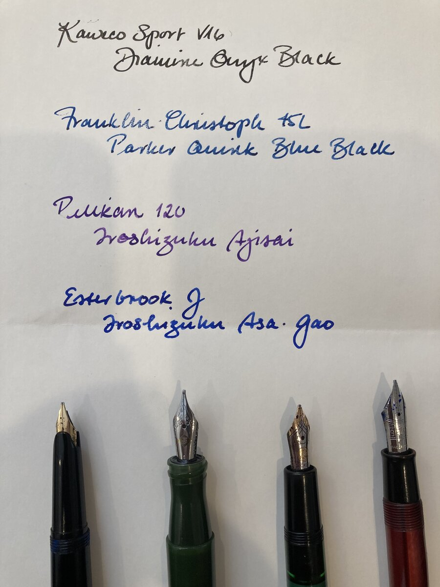 Four broad nibs