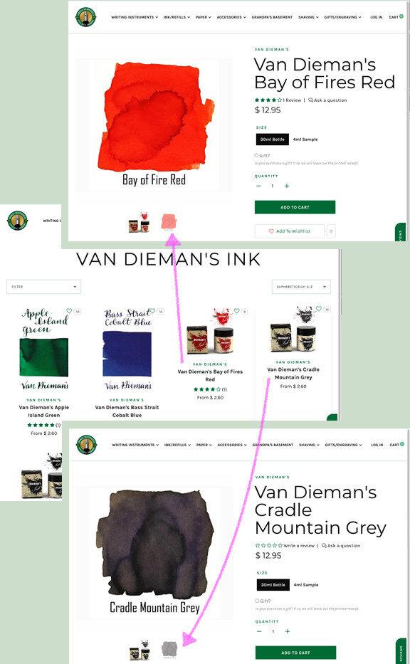 Van Dieman's Ink swatches on Vanness web site