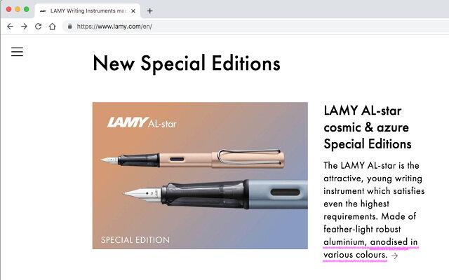 Lamy Al-Star body material is anodised aluminium