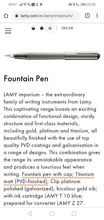 Official description of LAMY imporium TiPt fountain pen