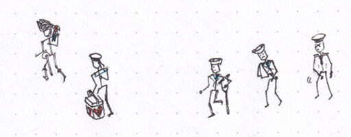 Reducing the sailors to stick figures, for comparison