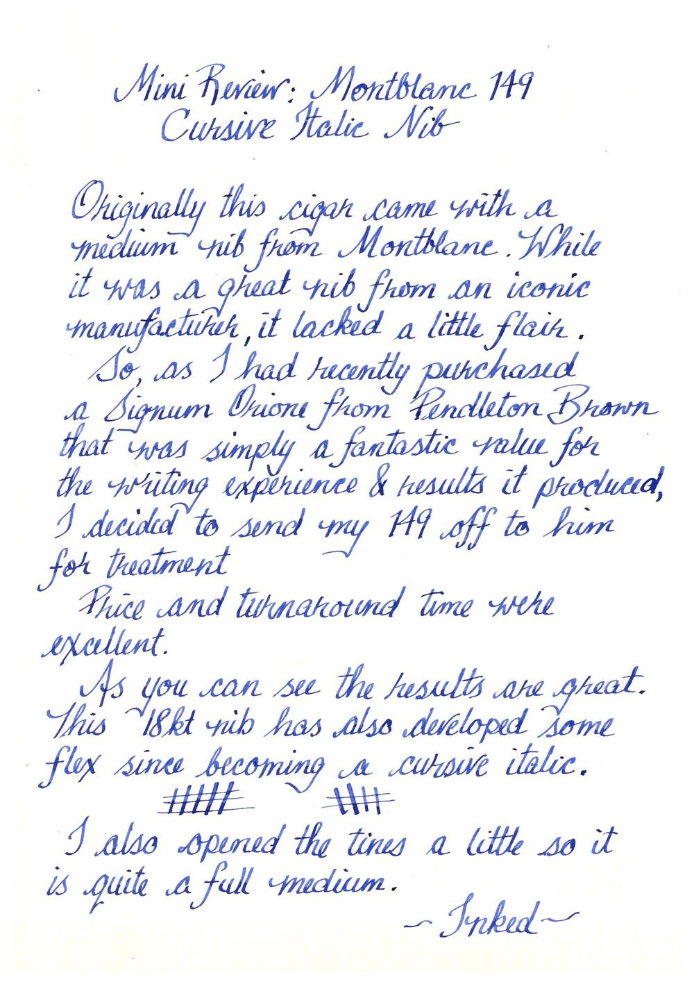 Montblanc 149 Cursive Italic By Pendleton Brown