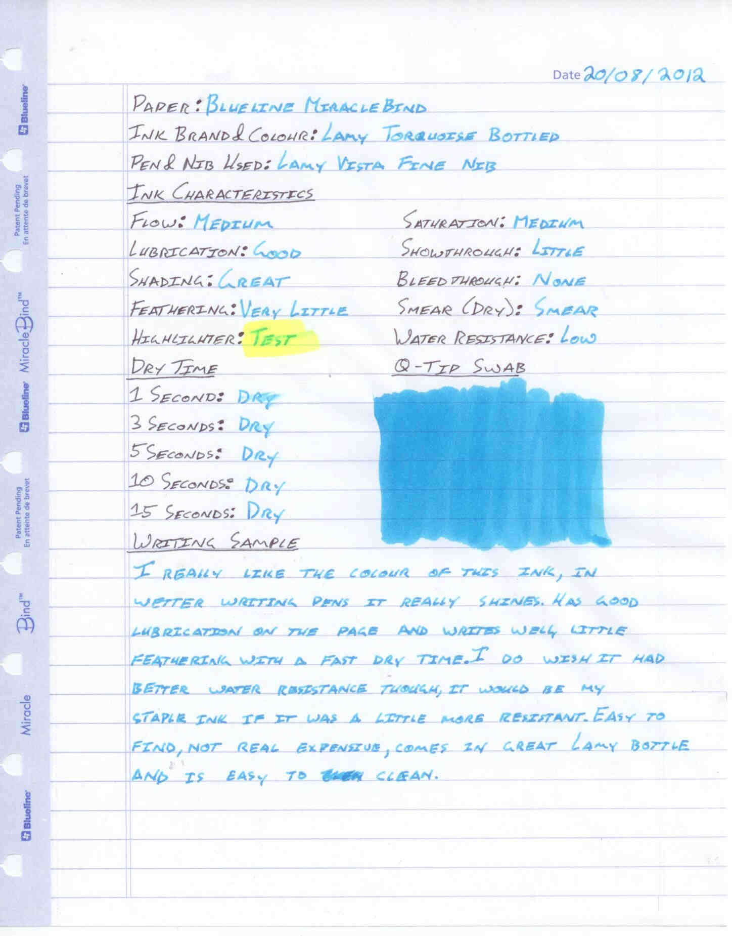 Lamy Turquoise Bottled Ink Review - Ink Reviews - The