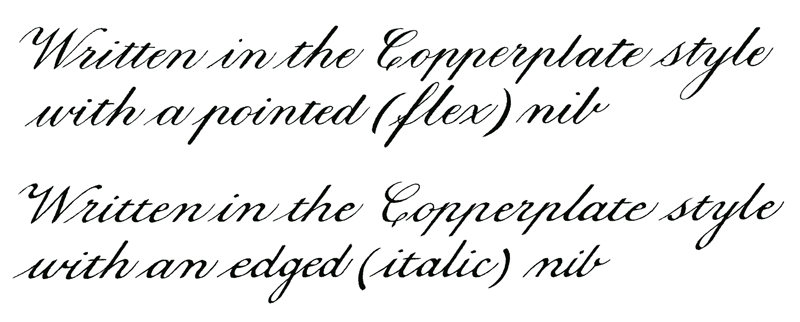 copperplate with an edged nib broad or edged pen calligraphy