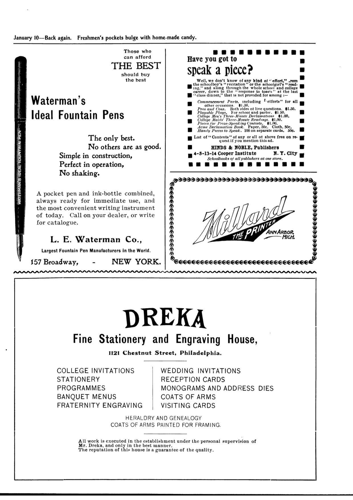 1899 Michiganensian Waterman Ad