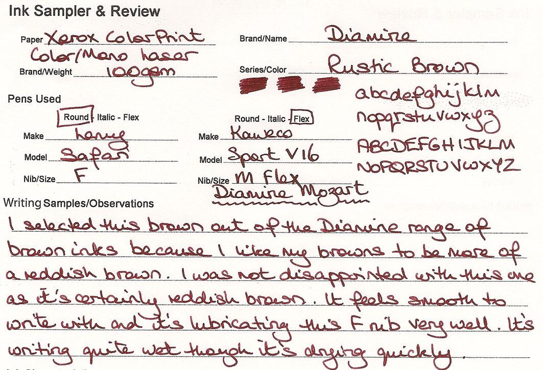 ink review diamine rustic brown
