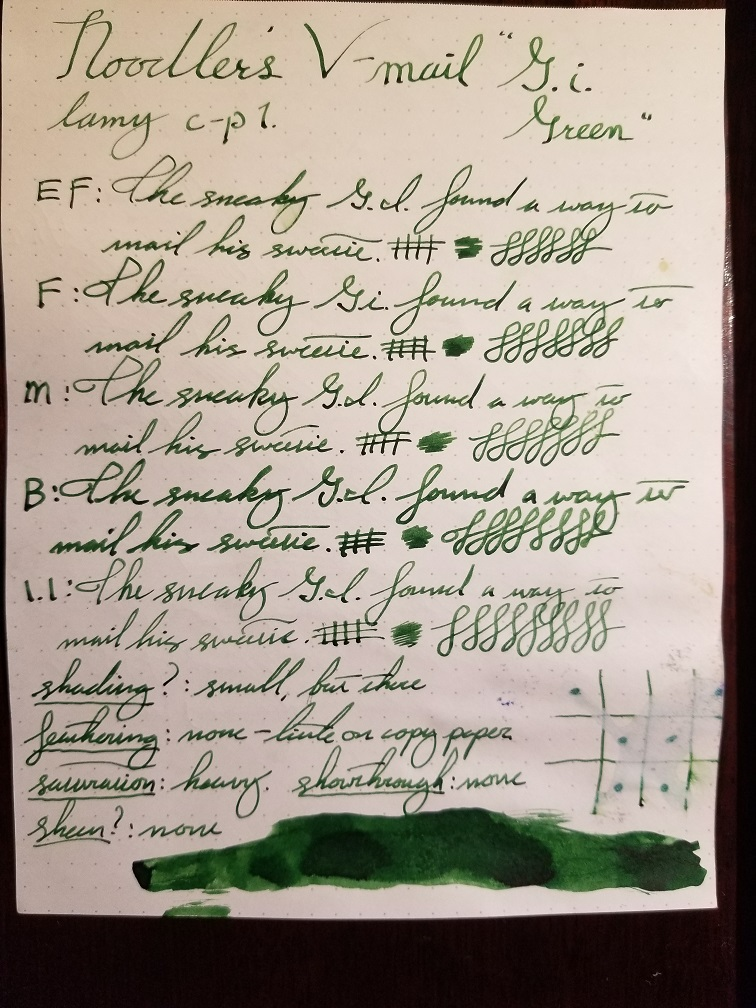 Noodler's Gi Green (V-Mail Series) - Ink Reviews - The Fountain Pen