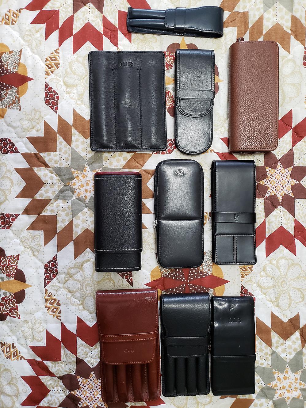 ELONG Chinese traditional Handmade fountain pen case bag for 5 pen black