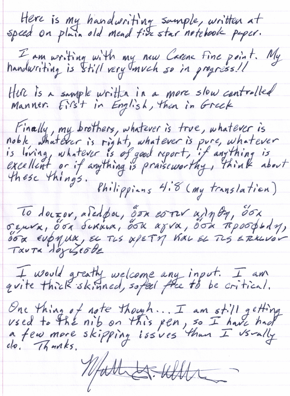 My Handwriting Sample Calligraphy Discussions The