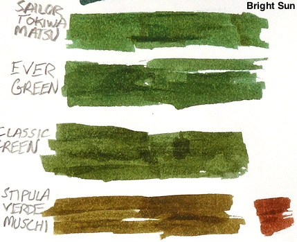 Diamine Classic Green 4 ink Comparison Sun.jpeg