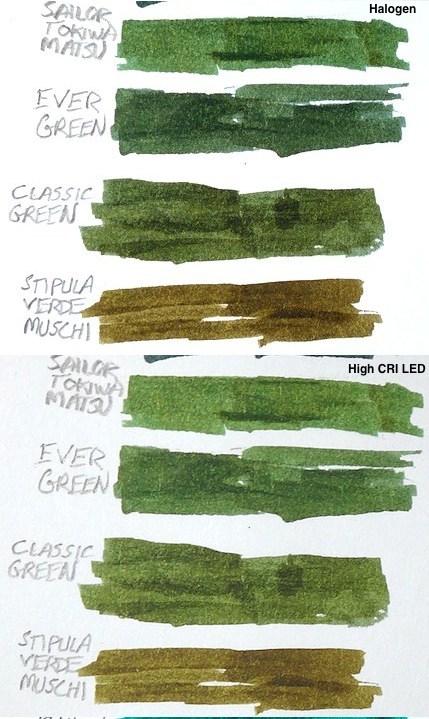 Diamine Classic Green 4ink Comparison Halogen HiCRI.jpg