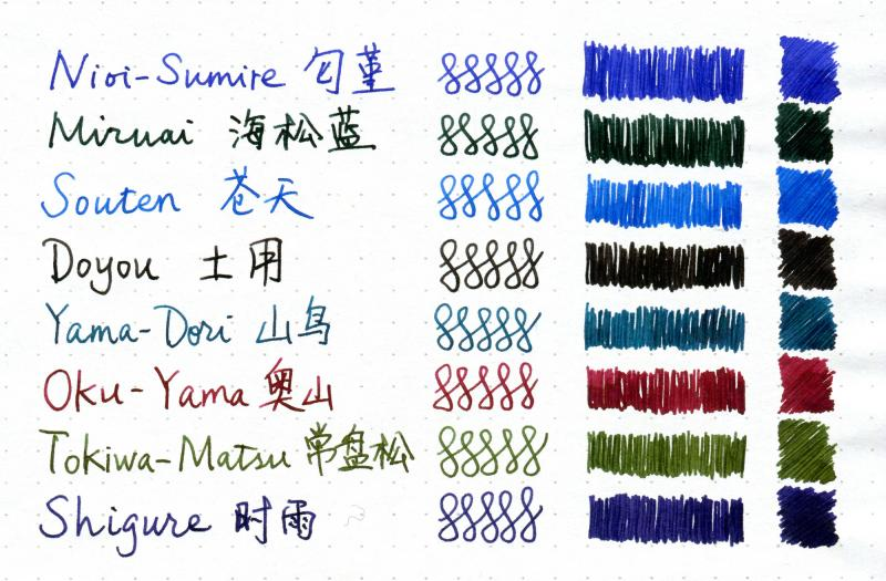 Sailor Four Seasons 8 Inks Compared Ink Comparisons