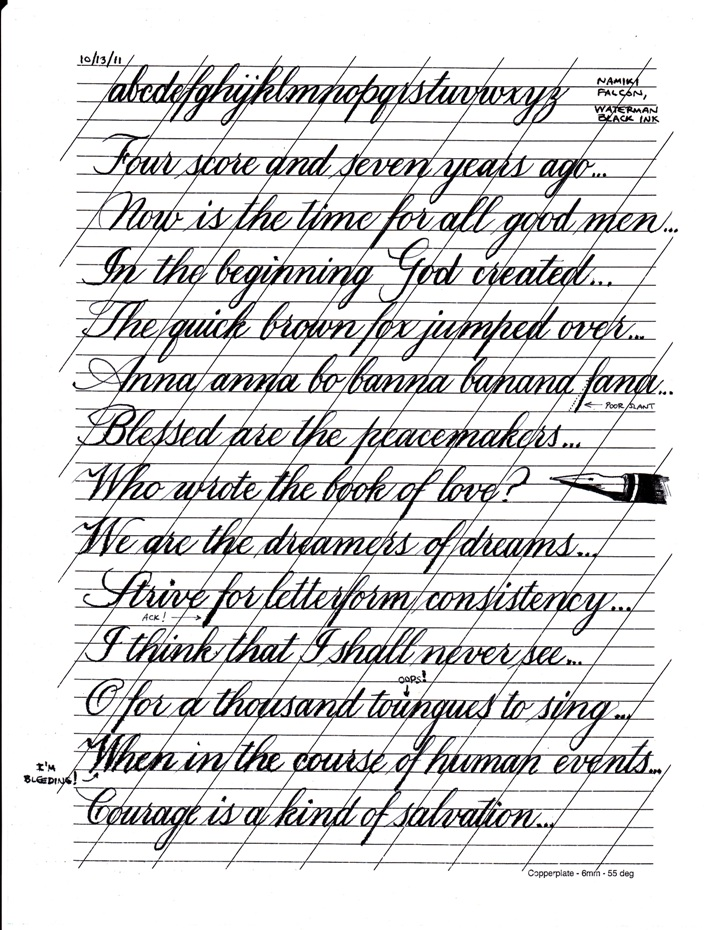 Learning copperplate page pointed pen